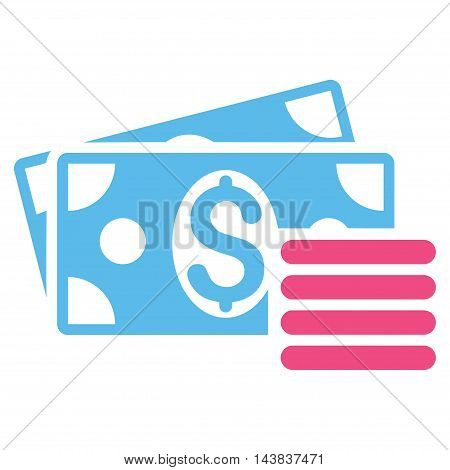 Dollar Cash icon. Vector style is bicolor flat iconic symbol with rounded angles, pink and blue colors, white background.