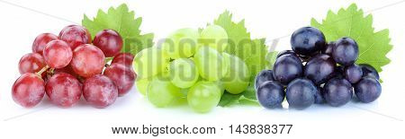 Grapes Red Blue Green Fruits Isolated On White