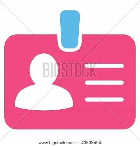 Person Badge icon. Vector style is bicolor flat iconic symbol with rounded angles, pink and blue colors, white background.