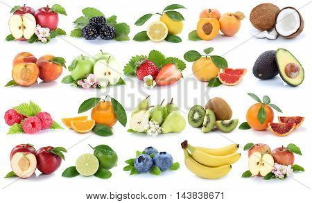 Fruits Collection Fresh Orange Apple Apples Banana Lemon Strawberry Isolated On White