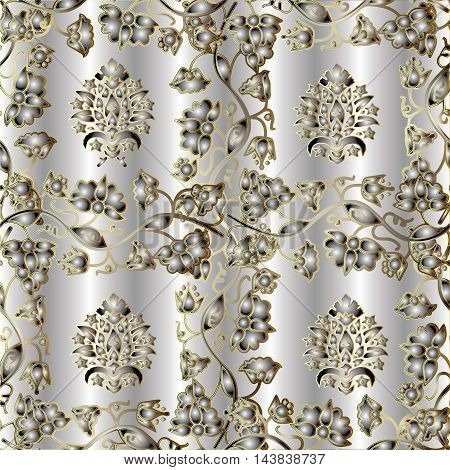 Modern light floral vector seamless pattern with vintage gold  flowers and ornaments on the silver drapery background,.Luxury  illustration and 3d vintage decor elements with shadow and highlights.