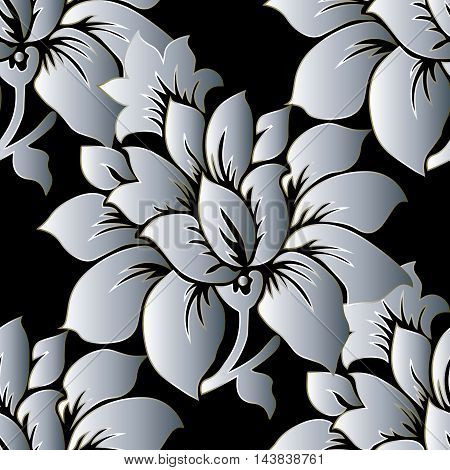 Black and white elegant stylish floral vector seamless pattern background with vintage beautiful volumetric flowers and ornaments. Luxury illustration and royal 3d decor elements with shadow and highlights. Endless elegant  texture.