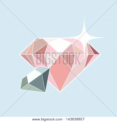 Pink and blue diamonds background in flat style