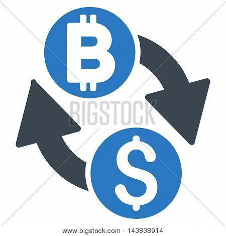Dollar Bitcoin Exchange icon. Vector style is bicolor flat iconic symbol with rounded angles, smooth blue colors, white background.