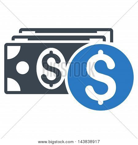Dollar Cash icon. Vector style is bicolor flat iconic symbol with rounded angles, smooth blue colors, white background.