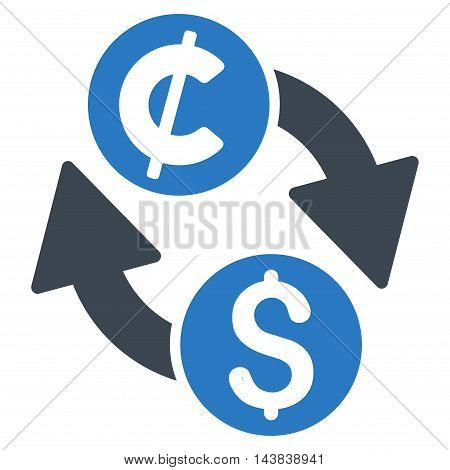 Dollar Cent Exchange icon. Vector style is bicolor flat iconic symbol with rounded angles, smooth blue colors, white background.