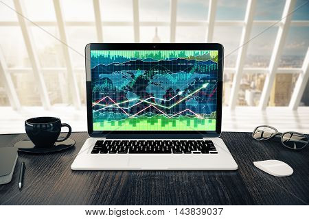 Workplace with forex chart on laptop screen coffee cup computer mouse and glasses in bright interior with sunlight and city view. 3D Rendering