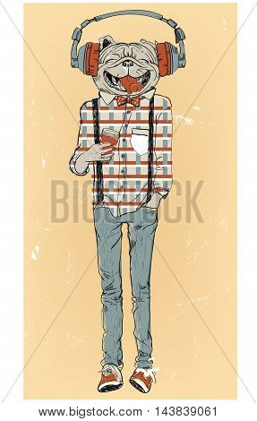 cute fashion hipster dog with headphones. vector illustration