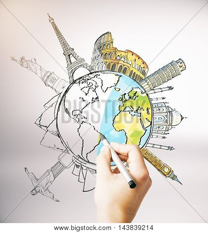 Hand drawing unfinished globe sketch with sights and monuments on light background. Travel concept