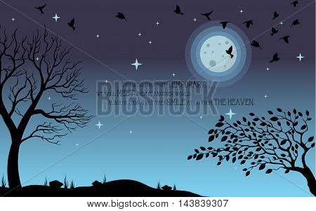 Heaven illustration on theme of Halloween. Bird, tree, moon, and stone silhouette on cemetery in night ambience. Wishes for Happy Halloween. Trick or treat. Vector illustration