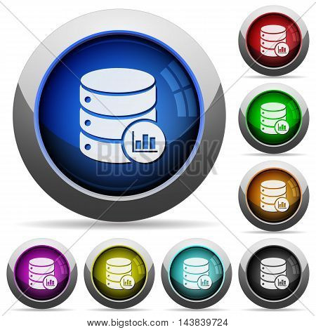 Set of round glossy Database statistics buttons. Arranged layer structure.