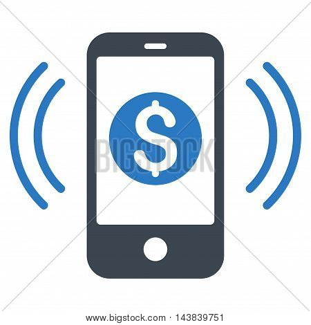Payment Phone Ring icon. Vector style is bicolor flat iconic symbol with rounded angles, smooth blue colors, white background.