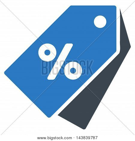 Percent Discount Tags icon. Vector style is bicolor flat iconic symbol with rounded angles, smooth blue colors, white background.