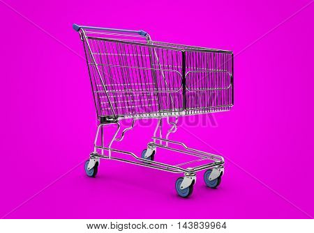 Empty shopping trolley isolated close up