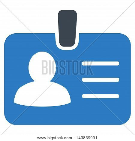 Person Badge icon. Vector style is bicolor flat iconic symbol with rounded angles, smooth blue colors, white background.