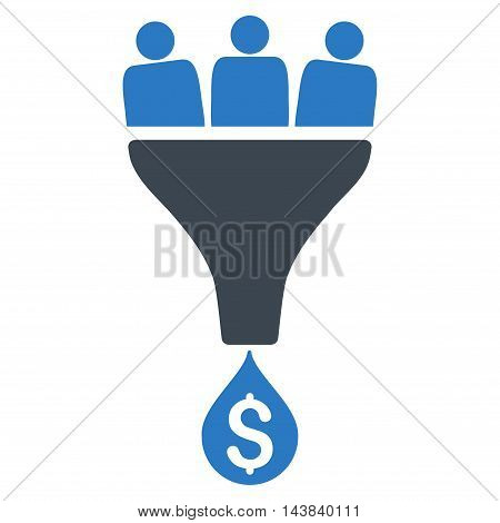 Sales Funnel icon. Vector style is bicolor flat iconic symbol with rounded angles, smooth blue colors, white background.
