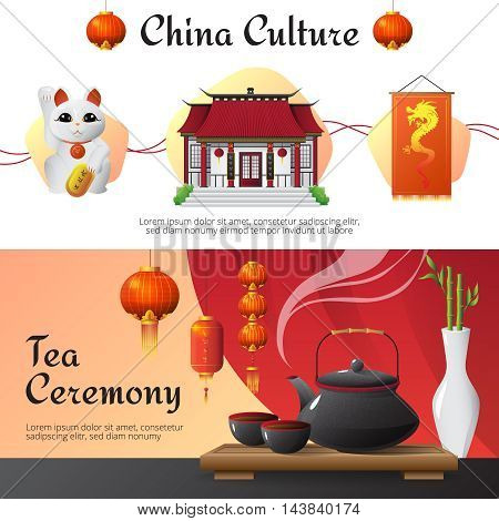 Chinese culture and traditions 2 horizontal banners set with tea ceremony and fortune cat isolated vector illusttration