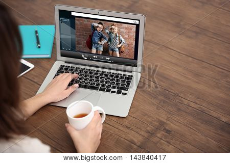 Video call and chat concept. Modern communication technology. Woman video conferencing on laptop.