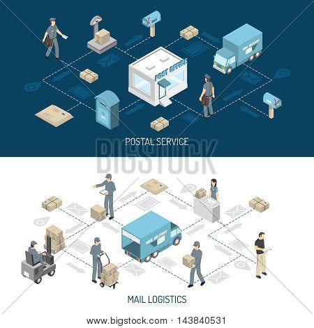 Post office service flowcharts 2 isometric horizontal banners with dark and white background abstract isolated vector illustration