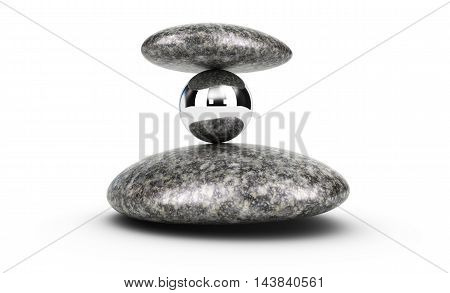 3D illustration of two pebbles and a metal sphere stacked over white background. concept of challenge and self control.