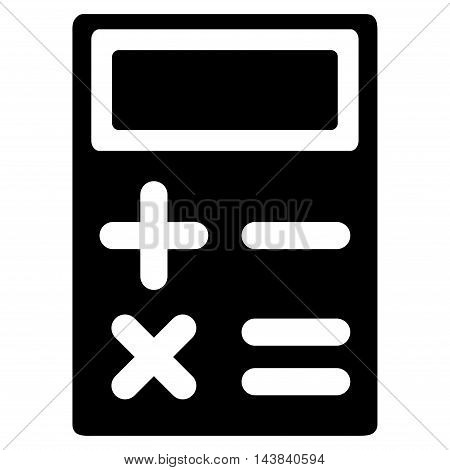Calculator icon. Vector style is flat iconic symbol with rounded angles, black color, white background.