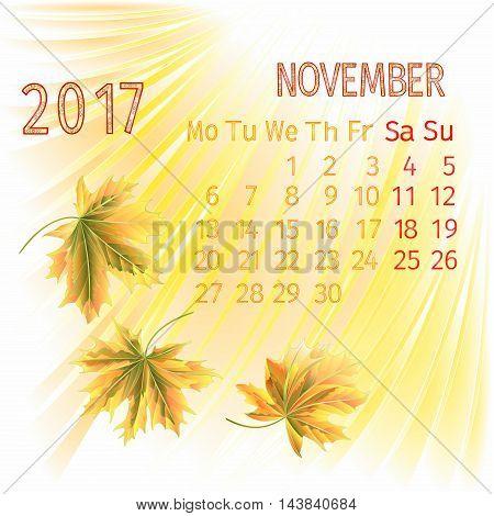 Calendar November 2017 and maple leaf vector illustration
