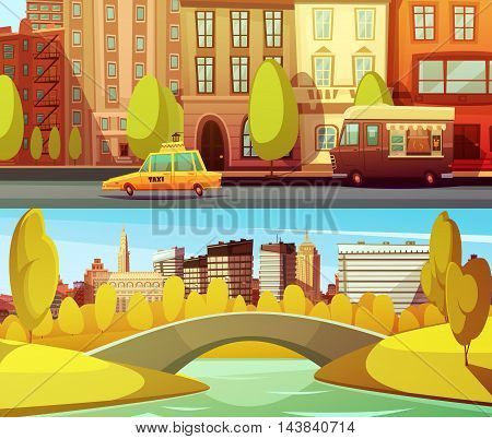 New york horizontal banners with city transport in downtown and central park in island manhattan flat vector illustration