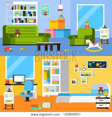 Baby room interiors flat horizontal banners set of playroom and bedroom with toys and furniture vector illustration