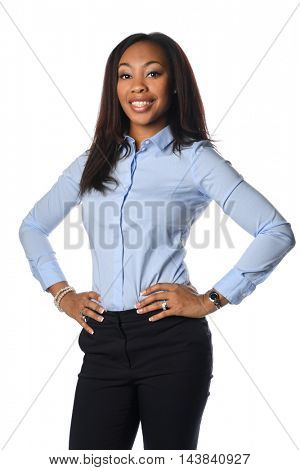 Beautiful African American businesswoman smiling isolated over white background