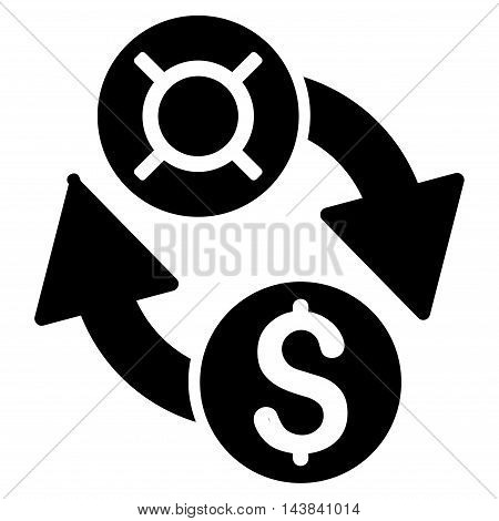 Dollar Currency Exchange icon. Vector style is flat iconic symbol with rounded angles, black color, white background.