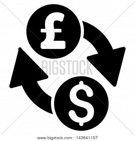 Dollar Pound Exchange icon. Vector style is flat iconic symbol with rounded angles, black color, white background.