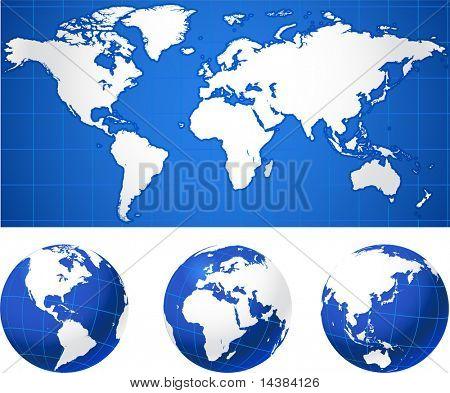 Mapa do mundo e globos originais globos de ilustração vetorial e Ideal de mapas de conceitos de negócios