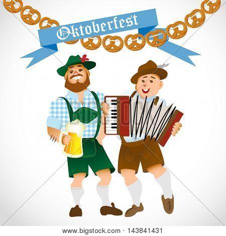 Bavarian men celebrating oktoberfest with a big glass of beer. Vector illustration