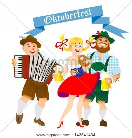 Bavarian men and woman celebrating oktoberfest with a big glass of beer. Vector illustration