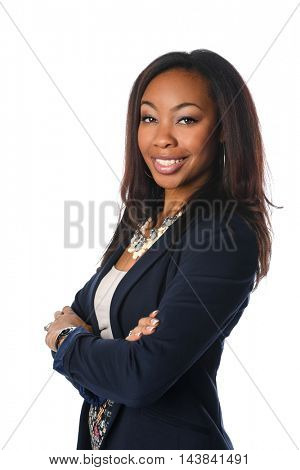 Portrait of African American businesswoman with arms crossed isolated over white background