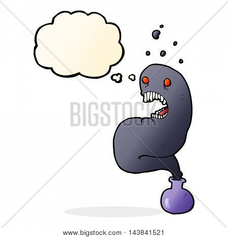 cartoon halloween ghost in bottle with thought bubble
