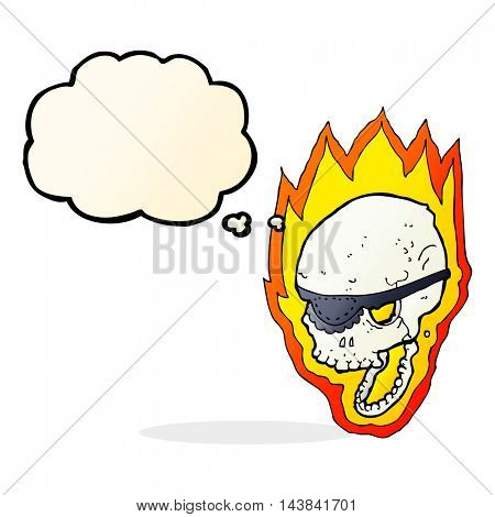 cartoon flaming pirate skull with thought bubble