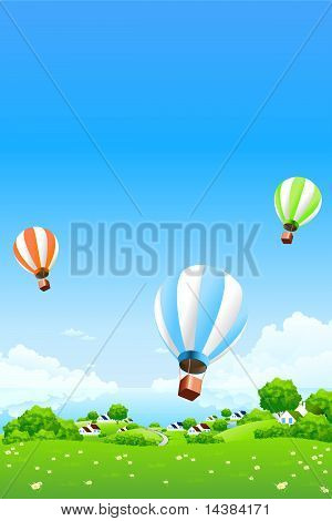 Green Landscape With Hot Air Balloons