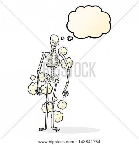 cartoon dusty old skeleton with thought bubble