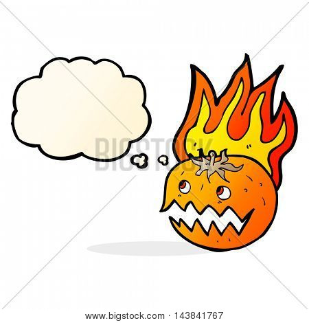 cartoon flaming pumpkin with thought bubble