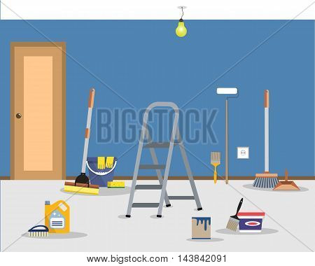 Room repair in home. Cleaning in the apartment after walls painting. Vector flat illustration