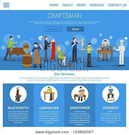 One flat craftsman internet page describing services of blacksmith carpenter shoemaker ceramist and people of other professions vector illustration