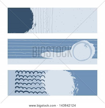 Set of horizontal banners handdrawn decorated with liquid ink brush splashes stripes strokes and spots. Isolated on white background vector illustration stylish with imperfect parts in blue sea colors