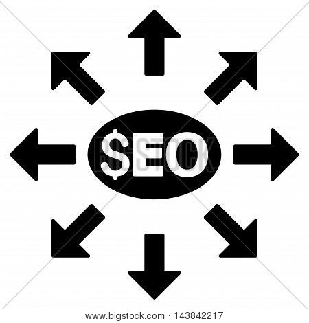 Seo Distribution icon. Vector style is flat iconic symbol with rounded angles, black color, white background.