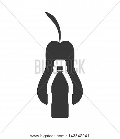 pear drink beverage healthy organic food silhouette icon. Flat and Isolated design. Vector illustration