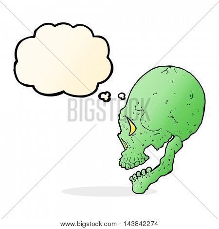 spooky skull illustration with thought bubble