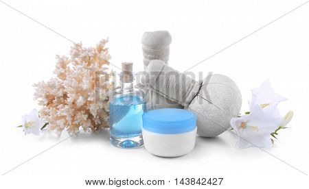 Composition of spa treatment on light background