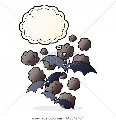 cartoon vampire bats with thought bubble