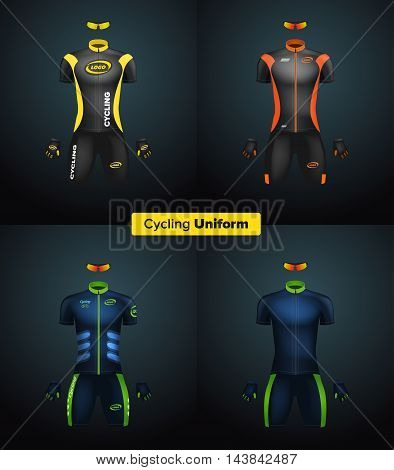 Realistic vector cycling uniforms. Branding mockup. Bike or Bicycle clothing and equipment. Special kit: short sleeve jersey, gloves and sunglasses. Front view