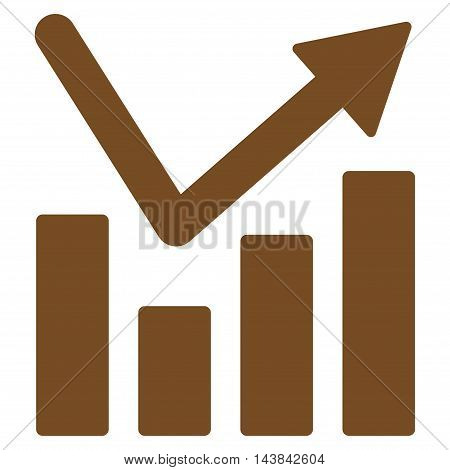 Bar Chart Trend icon. Vector style is flat iconic symbol with rounded angles, brown color, white background.